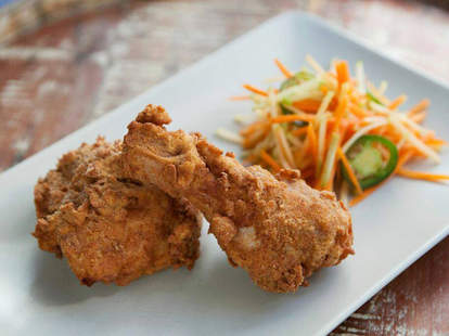 Buttermilk Fried chicken with Carrot-Apple-Jalapeno slaw at Harrow