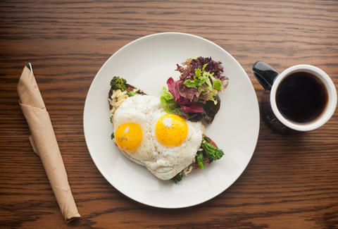 Eggs Over-Easy and Broccolini at Foundation Cafe