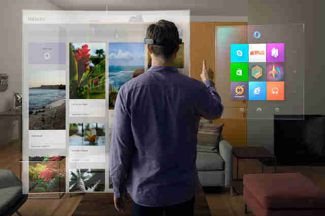 man using microsoft hololens