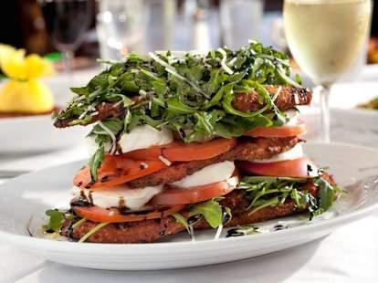 caprese salad with fried eggplant