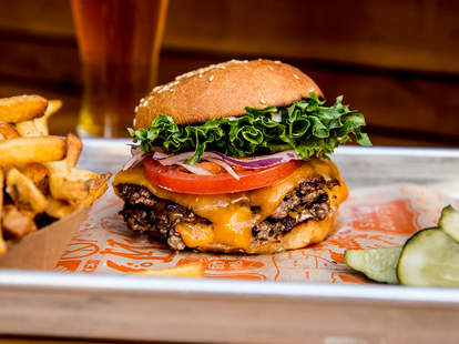 burger and fries at Super Duper Burger