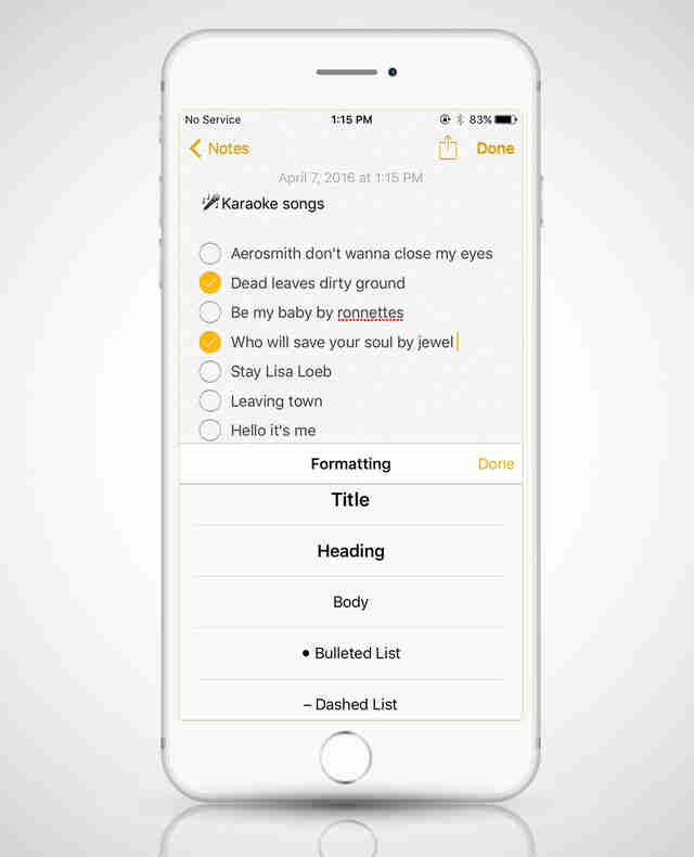 notes app in iphone 6