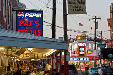 Pat's and Geno's cheesesteaks in Philly