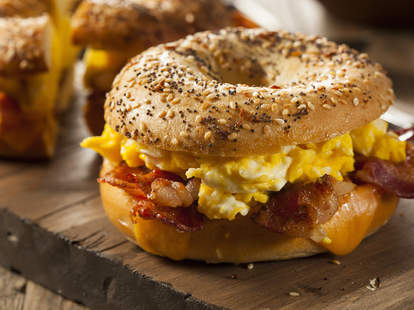 breakfast sandwich, bacon egg and cheese on a bagel