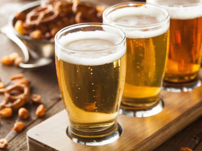 pretzels, peanuts, beer flight