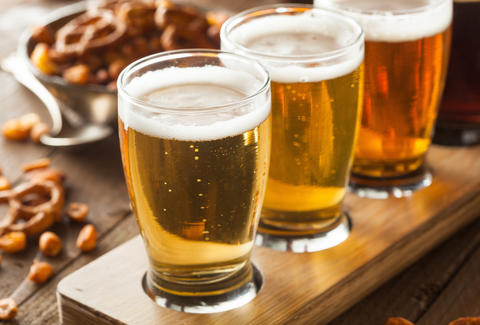 pretzels, peanuts, beer flight