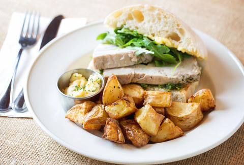 roasted chicken sandwich with potatoes