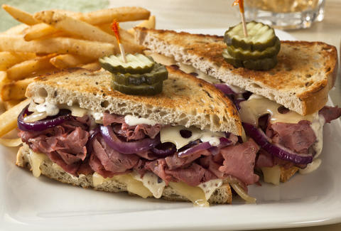 pastrami sandwich, french fries