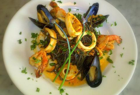 Seafood with Black Linguini