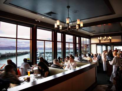 Fog Harbor Fish House windows view tables interior thrillist san francisco
