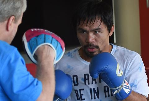 Manny Pacquiao training for boxing match