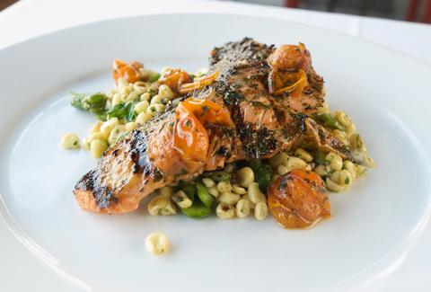 AMMO Grilled Wild Salmon with Sweet Corn Succotash, Cherry Tomatoes & Basil ammo thrillist los angeles