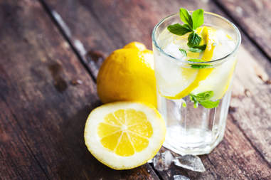 lemon water, lemon, water