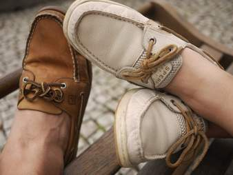 close up of boat shoes preppy