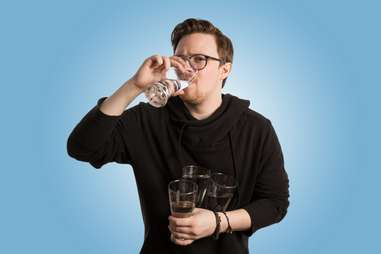drinking water and hydrating