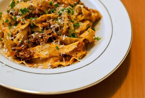 pappardella pasta with bolognese