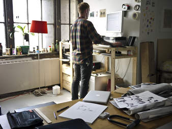 Man at standing desk
