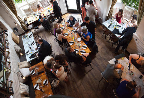 SÁTIS BISTRO upper view group people jersey city thrillist