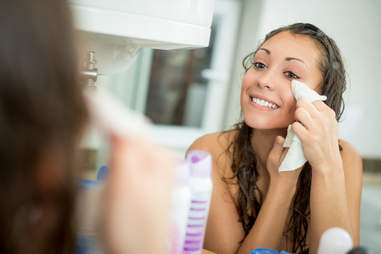 Woman wiping face