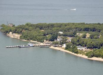aerial view of the Ferry Terminal in Put-in-Bay on South Bass Island Ohio USA