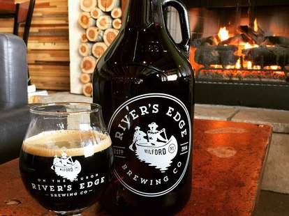 beer brewery river's edge michigan thrillist fireplace