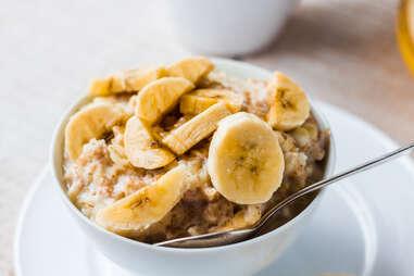 banana and oatmeal close up