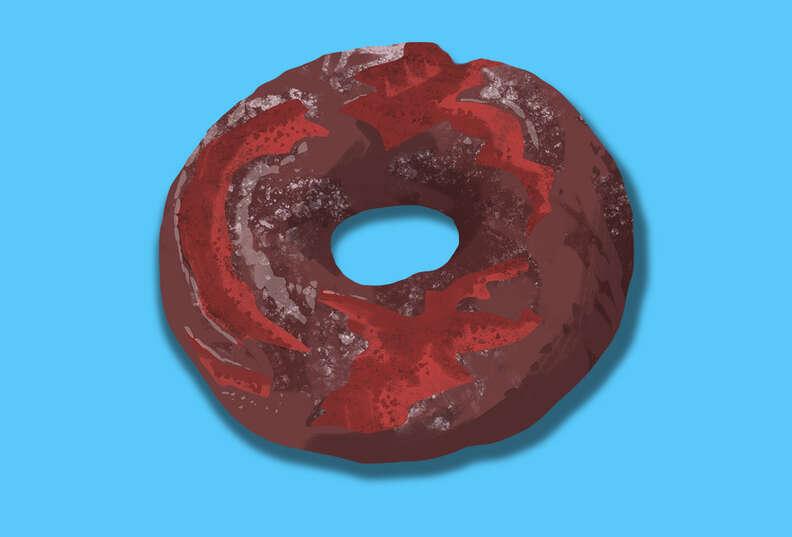 red velvet doughnut, peter pan donut and pastry shop