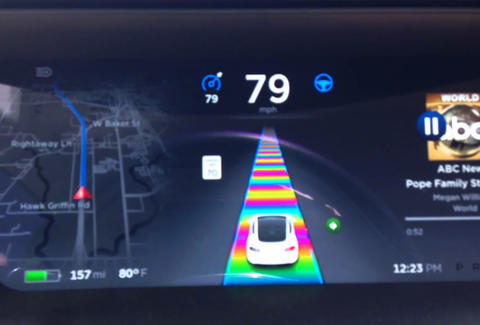 Tesla has a Rainbow Road