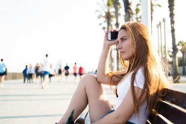 skater girl on the beach