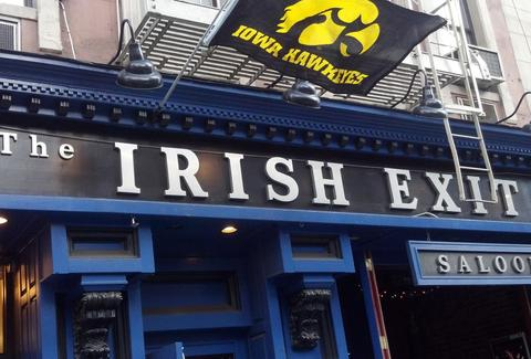 The Irish Exit NYC exterior blue paint new york thrillist
