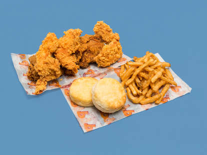 popeyes fried chicken, biscuit, and fries