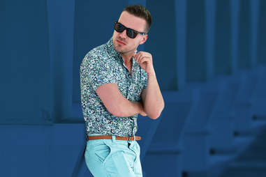 man in floral shirt