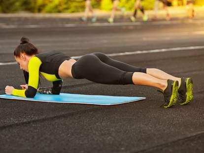 woman planking exercise floor exercises