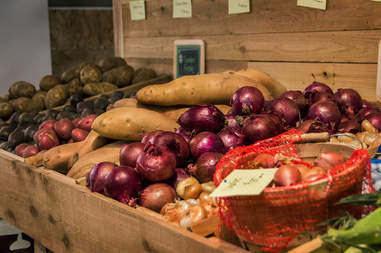 potatoes, onions, garlic, liberty public market