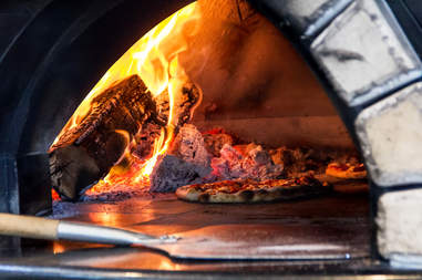 wood fired cooked pizza, wood fire pizza