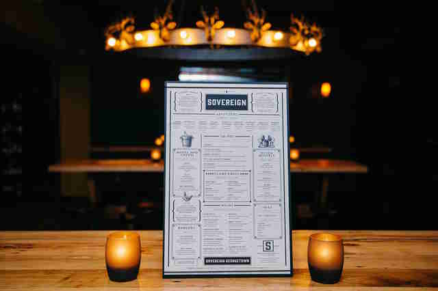 the sovereign, the sovereign menu