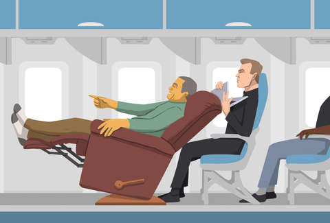 illustration of someone reclining on airplane & Reclining Your Airplane Seat Is Worse Than Manspreading - Thrillist islam-shia.org