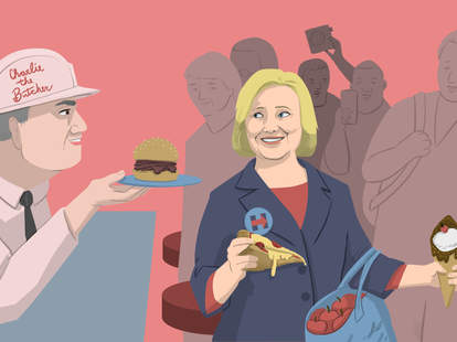 Jason Hoffman illustration for Thrillist of Hillary Clinton eating pizza, beef on weck, and New York apples