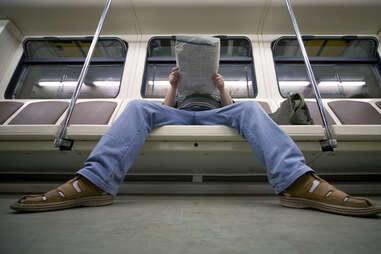 manspreading on public transit subway