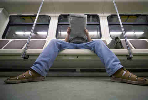 manspreading on public transit subway