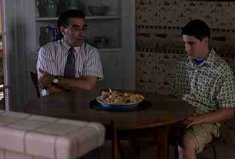 Scene from American Pie with Eugene Levy and Jason Biggs
