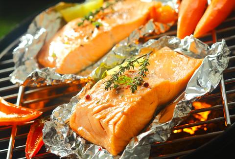 Salmon grilled in aluminum foil
