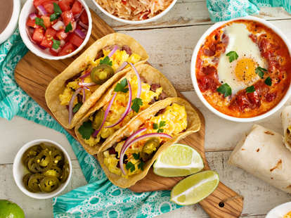 Breakfast tacos with eggs, jalapenos and onions