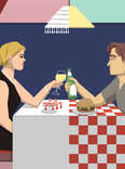 Jason Hoffman's Thrillist illustration of a wealthy woman on a date with a poor boy