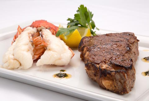 surf and turf, lobster, steak, lobster and steak