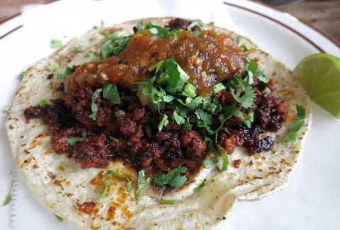 Soft-shell taco with salsa