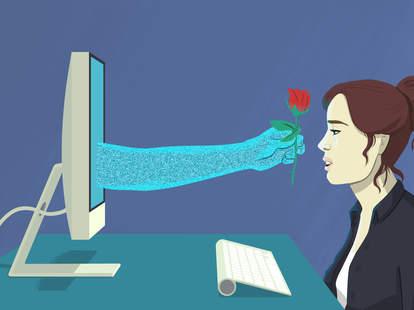 illustration of woman with virtual boyfriend