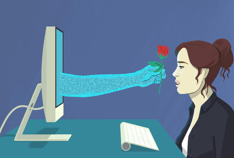 illustration of woman with virtual boyfriend