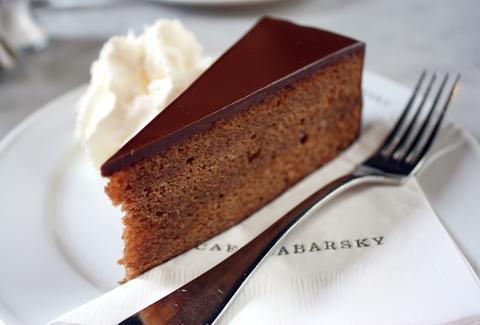 cafe sabarsky nyc thrillist chocolate mousse cake and fork