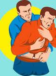 illustration of man choking